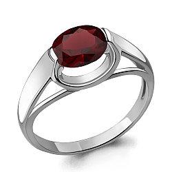 Серебряное кольцо с гранатом AQUAMARINE (#705095)