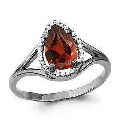 Серебряное кольцо с гранатом AQUAMARINE (#488931)