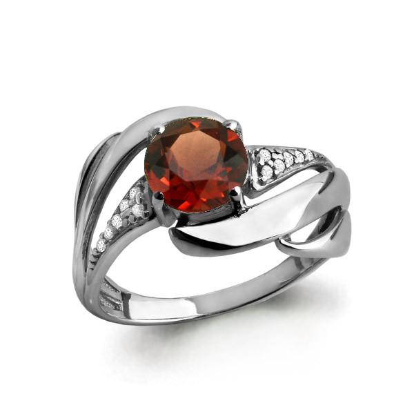 Серебряное кольцо с гранатом AQUAMARINE (#632239)