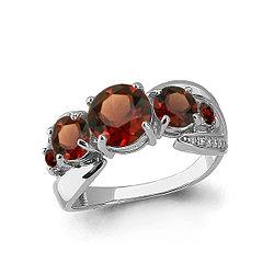 Серебряное кольцо с гранатом AQUAMARINE (#657993)