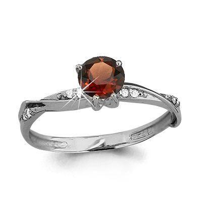Серебряное кольцо с гранатом и фианитом AQUAMARINE (#697840)