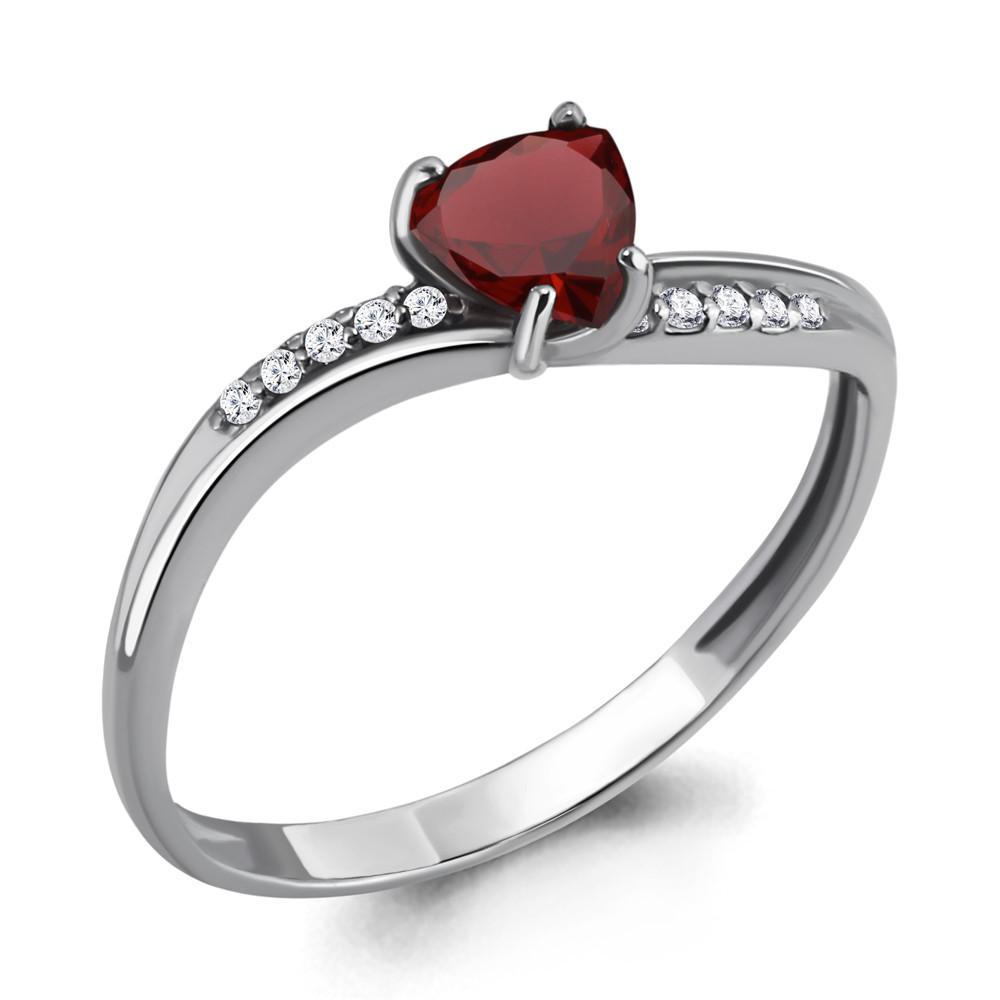 Серебряное кольцо с гранатом и фианитом AQUAMARINE (#410049)