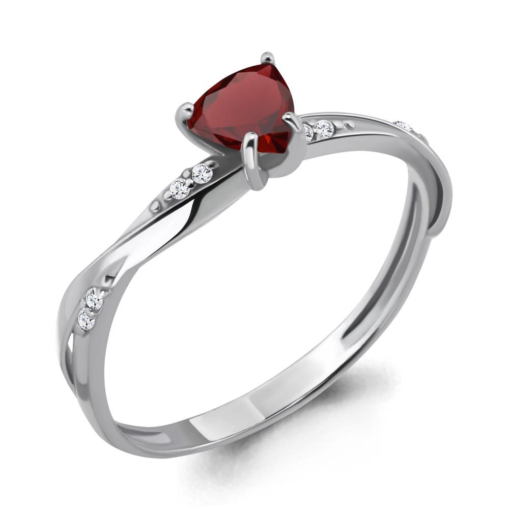 Серебряное кольцо с гранатом и фианитом AQUAMARINE (#410054)