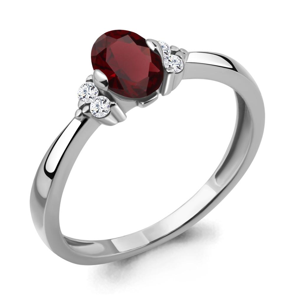 Серебряное кольцо с гранатом и фианитом AQUAMARINE (#410009)