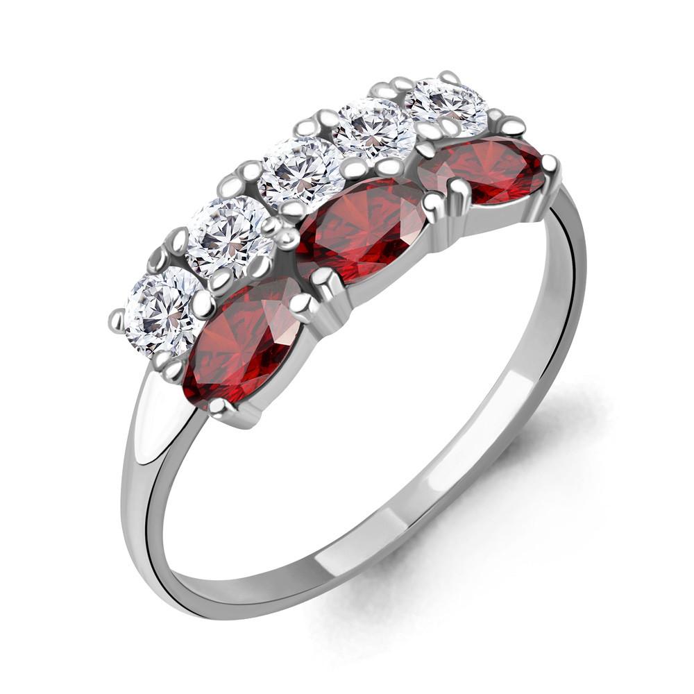 Серебряное кольцо с гранатом и фианитом AQUAMARINE (#712942)