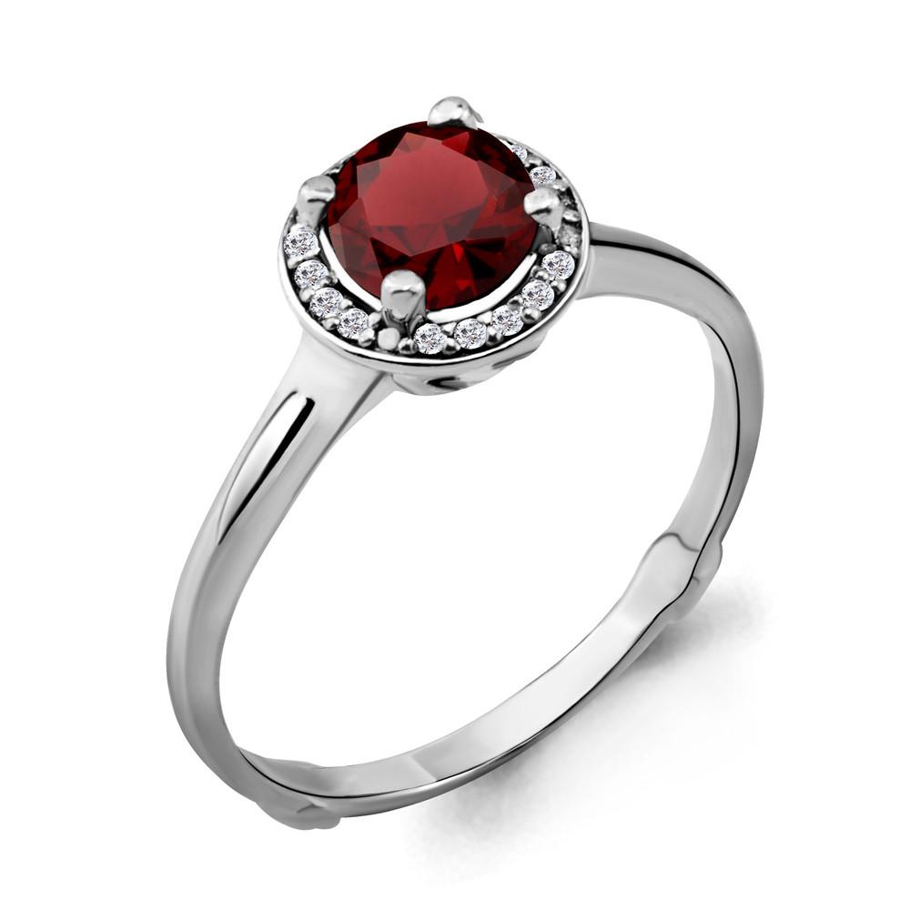 Серебряное кольцо с гранатом и фианитом AQUAMARINE (#698465)