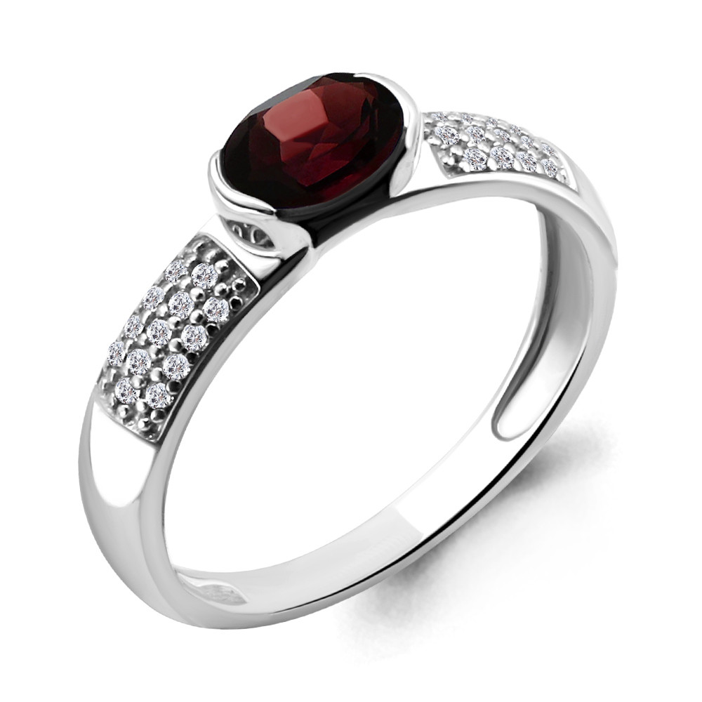 Серебряное кольцо с гранатом и шпинелью синт. AQUAMARINE (#409982)