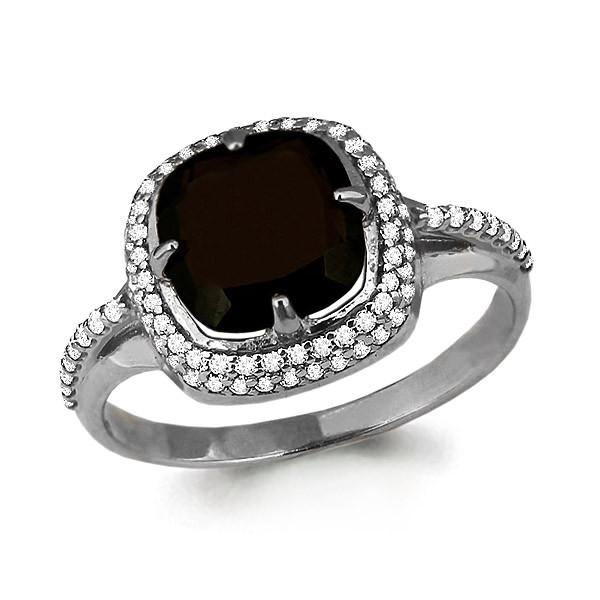 Серебряное кольцо с кварцем дымчатым AQUAMARINE (#709076)
