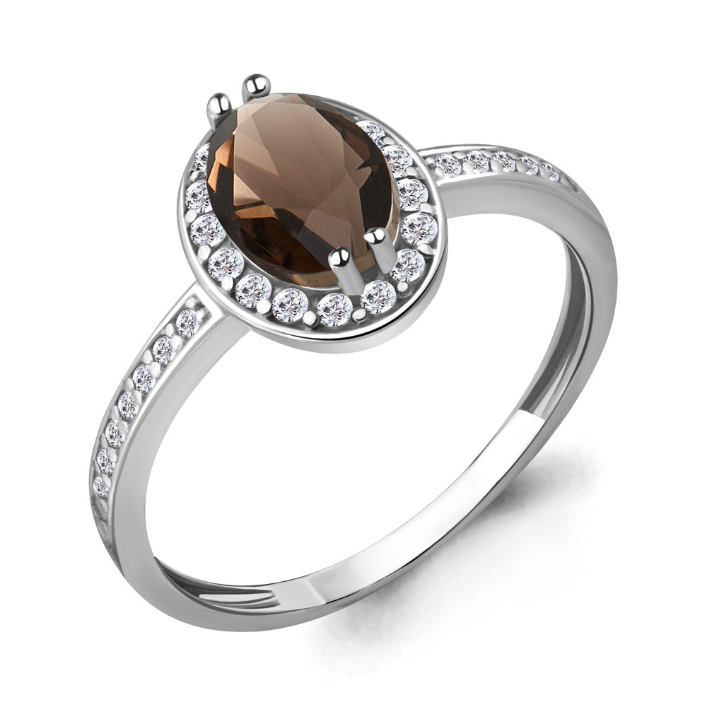 Серебряное кольцо с кварцем дымчатым и фианитом AQUAMARINE (#632233)