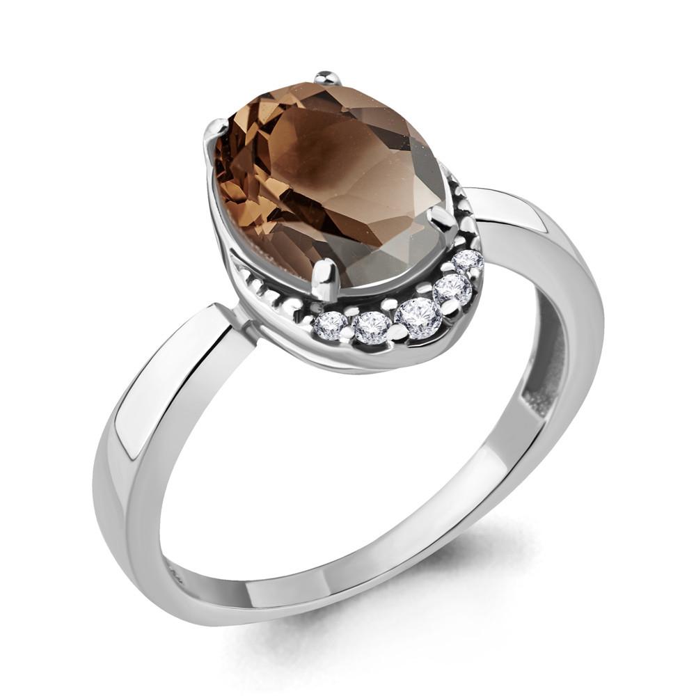 Серебряное кольцо с кварцем дымчатым и фианитом AQUAMARINE (#706526)