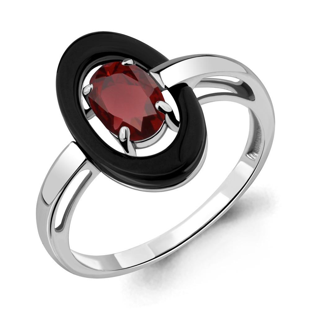 Серебряное кольцо с керамикой и гранатом AQUAMARINE (#700275)