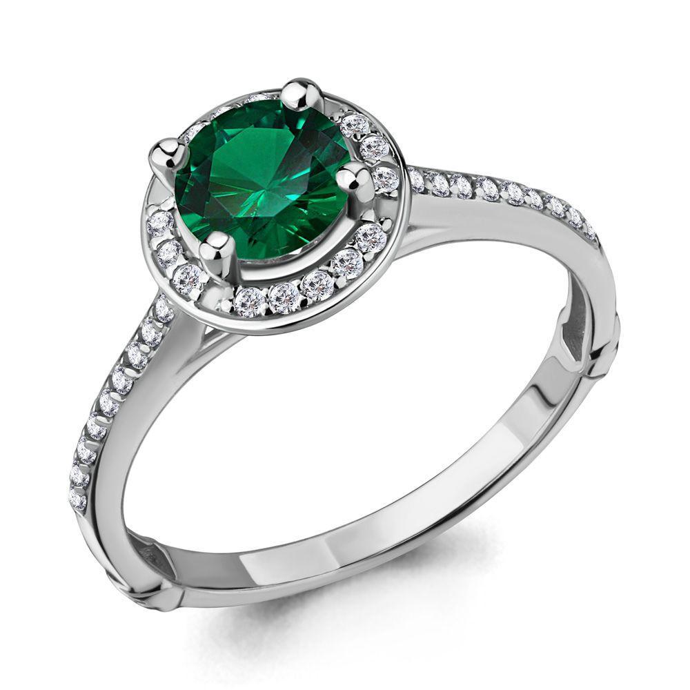 Серебряное кольцо с наноизумрудом синт. и фианитом AQUAMARINE (#619702)