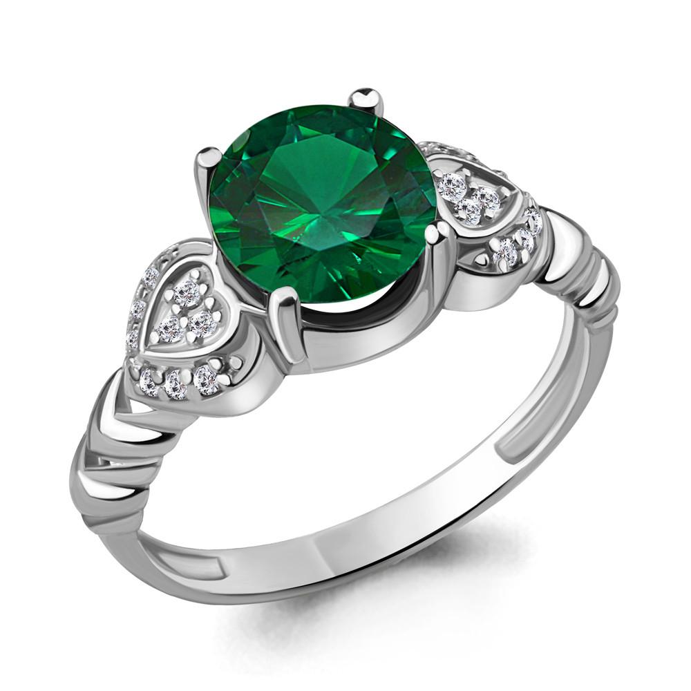Серебряное кольцо с наноизумрудом синт. и фианитом AQUAMARINE (#447920)
