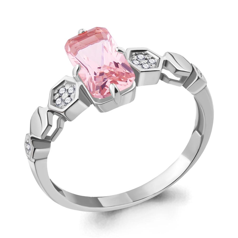 Серебряное кольцо с наноморганитом и фианитом AQUAMARINE (#715565)