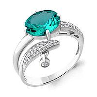 Серебряное кольцо с нано турмалином и фианитом AQUAMARINE (#658825) 17