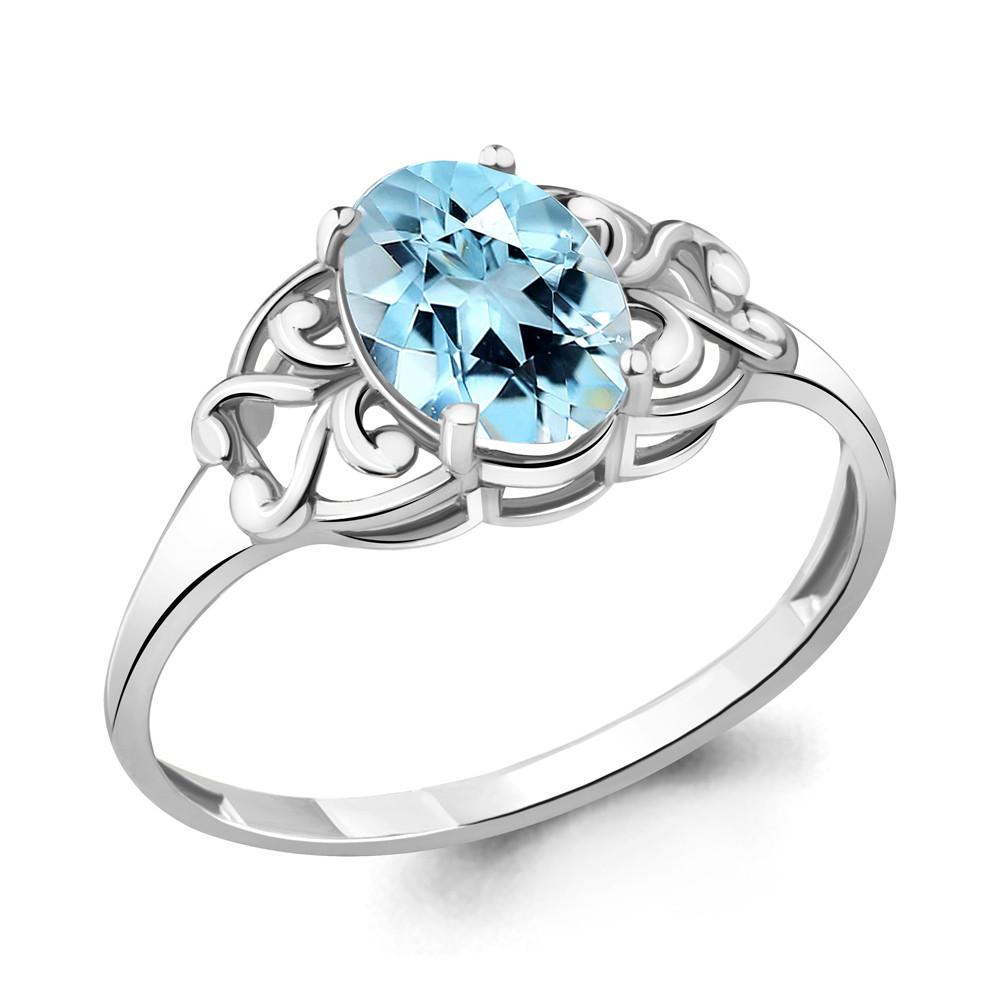 Серебряное кольцо с топазом и фианитом AQUAMARINE (#687173)