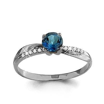 Серебряное кольцо с топазом лондон AQUAMARINE (#697843)