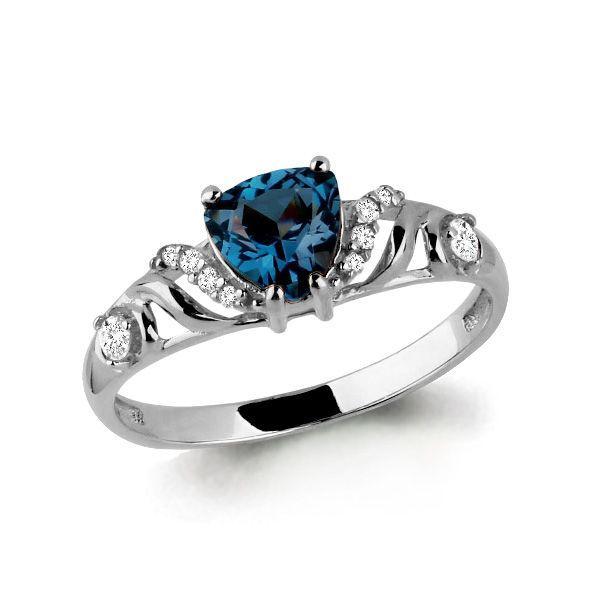 Серебряное кольцо с топазом лондон и фианитом AQUAMARINE (#687149)