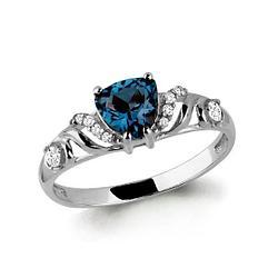 Серебряное кольцо с топазом лондон и фианитом AQUAMARINE (#687149) 18