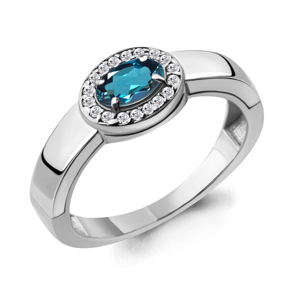 Серебряное кольцо с топазом лондон и фианитом AQUAMARINE (#709090)