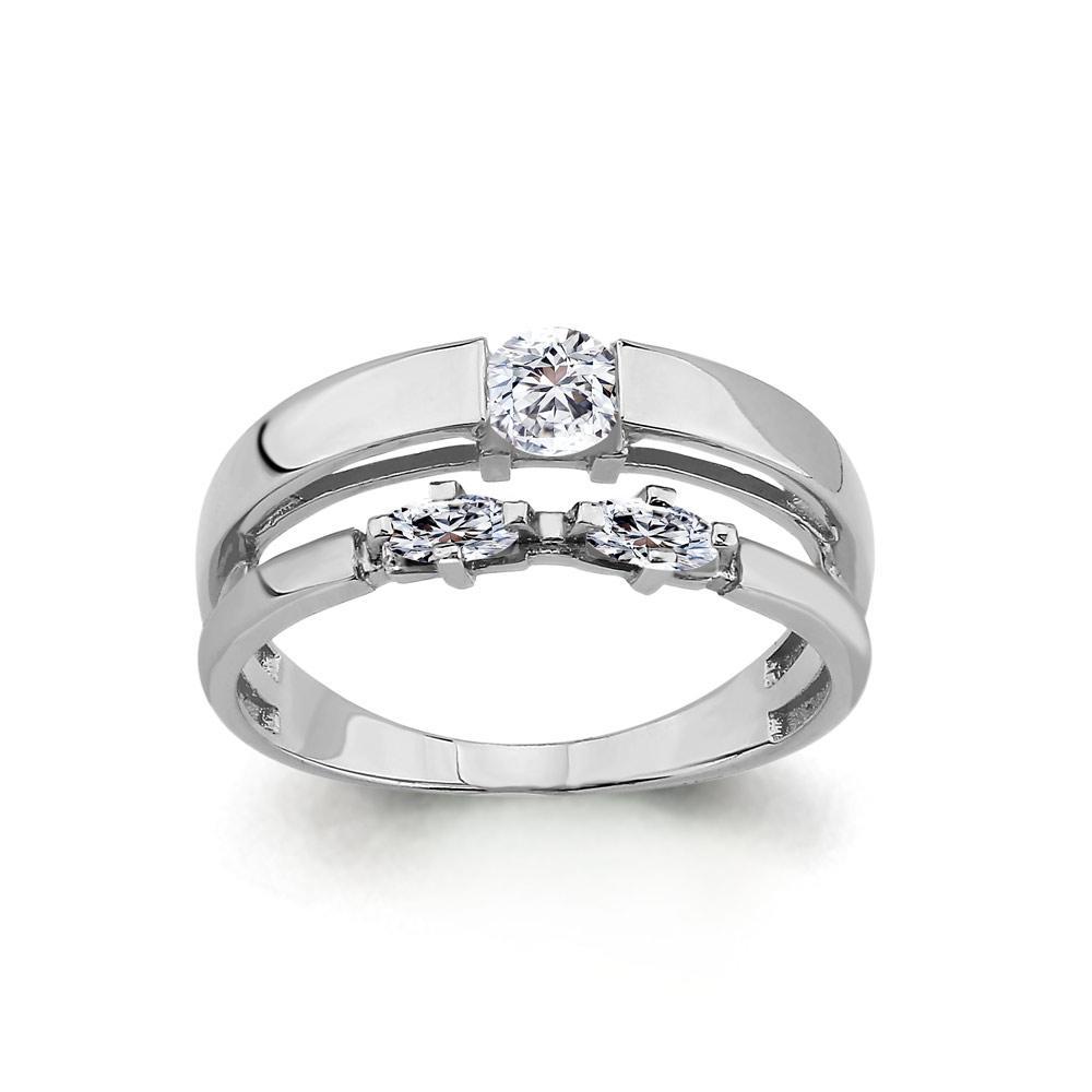 Серебряное кольцо с фианитом AQUAMARINE (#708737)