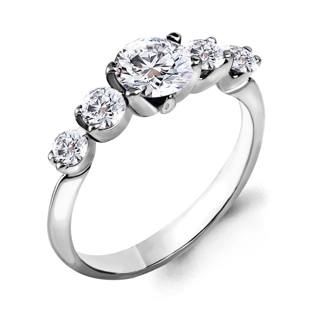 Серебряное кольцо с фианитом AQUAMARINE (#716554)