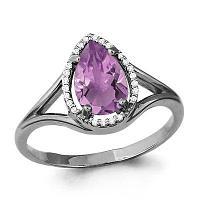 Серебряное кольцо с фианитом и аметистом AQUAMARINE (#697859)