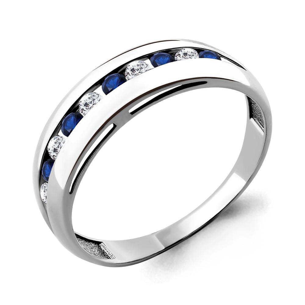 Серебряное кольцо с фианитом и нано сапфиром AQUAMARINE (#689108)