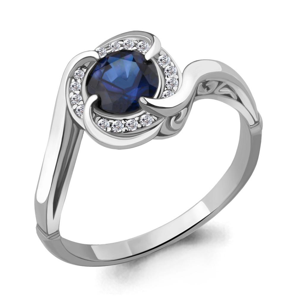 Серебряное кольцо с фианитом и нано сапфиром AQUAMARINE (#632282)