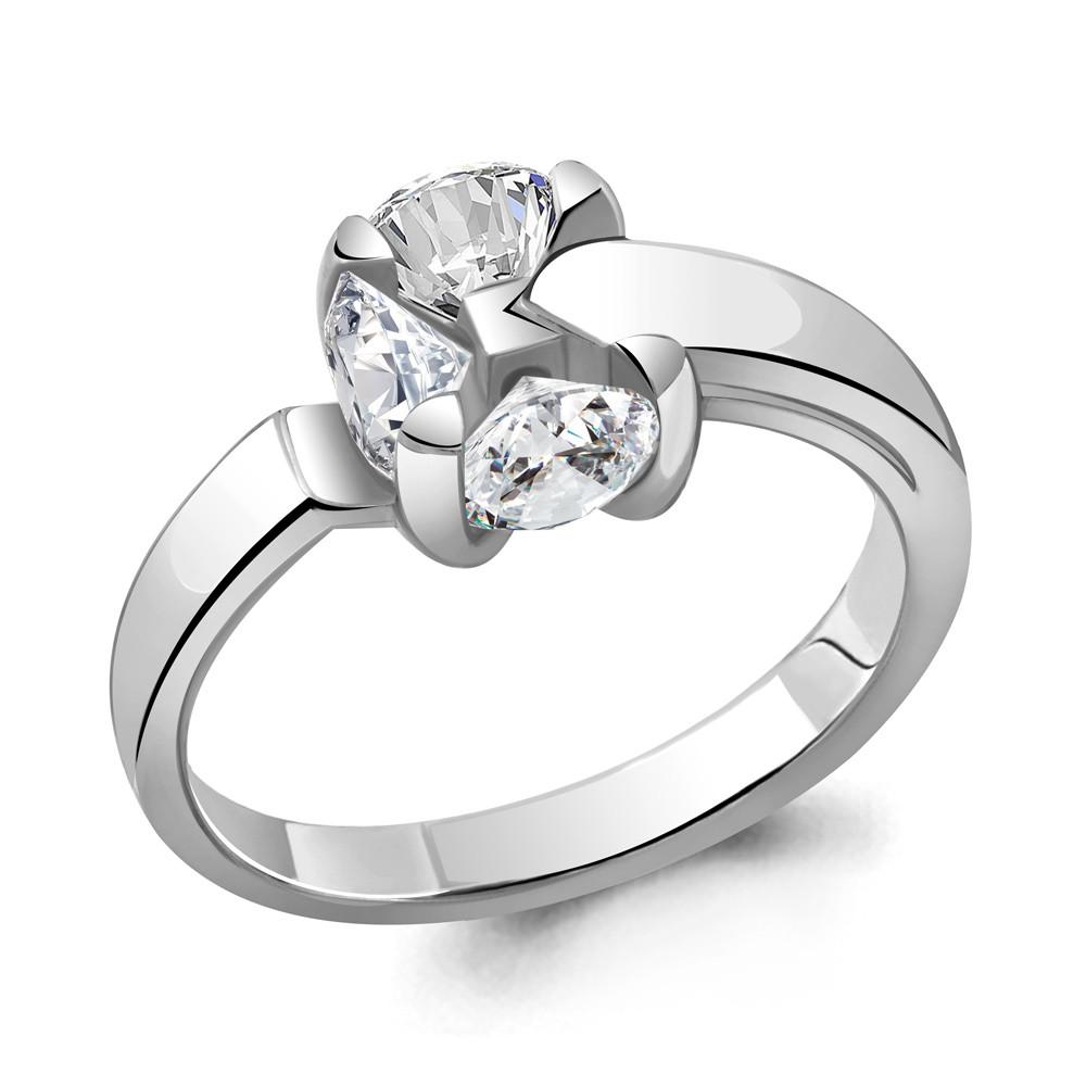 Серебряное кольцо с фианитом и наносапфиром синт. AQUAMARINE #714866