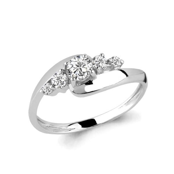 Серебряное кольцо с фианитом и фианитом swarovski AQUAMARINE (#627425)