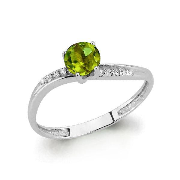 Серебряное кольцо с хризолитом AQUAMARINE (#697839)