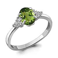 Серебряное кольцо с хризолитом AQUAMARINE (#700171)