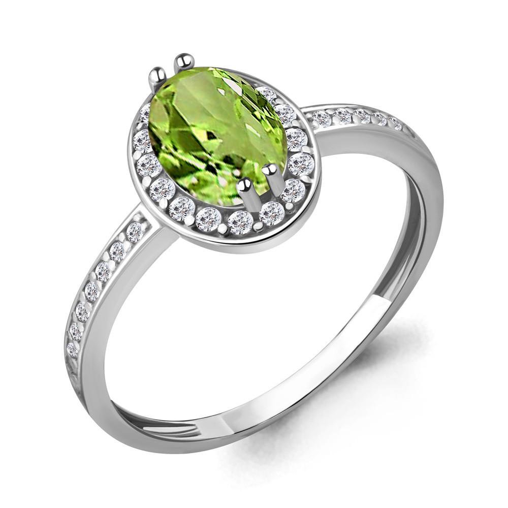 Серебряное кольцо с хризолитом AQUAMARINE (#708949)