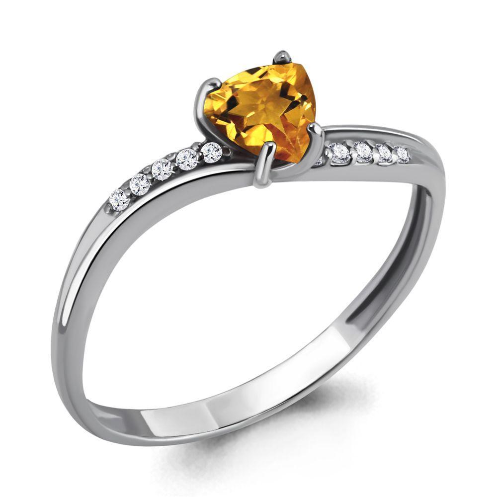 Серебряное кольцо с цитрином AQUAMARINE (#697850)