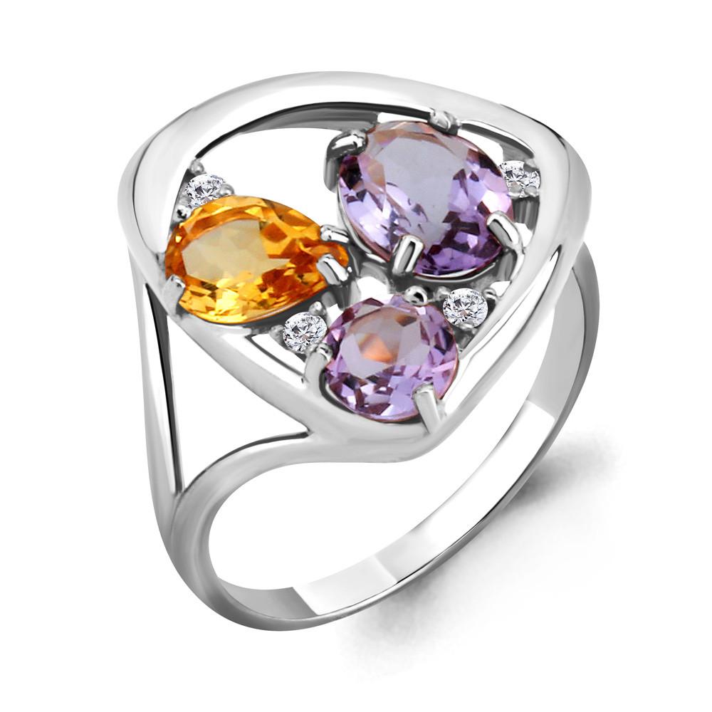 Серебряное кольцо с цитрином и аметистом AQUAMARINE (#703639)
