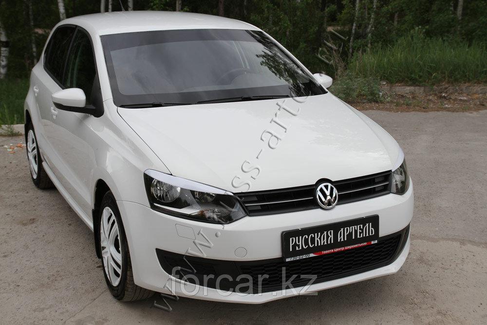 Накладки на передние фары (реснички) Volkswagen Polo V 2009-