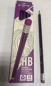 Чернографитный  карандаш Yalong HB сиреневый/черный