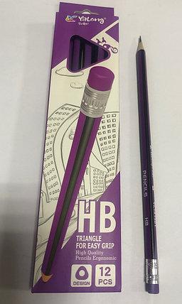 Чернографитный  карандаш Yalong HB сиреневый/черный, фото 2
