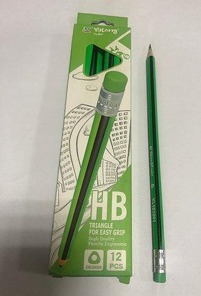 Чернографитный  карандаш Yalong HB зеленый/черный, фото 2