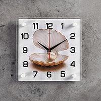 """Часы настенные, серия: Море, """"Жемчужина в ракушке"""", 25х25 см, микс"""