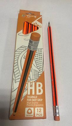 Чернографитный  карандаш Yalong HB оранжевый/черный, фото 2