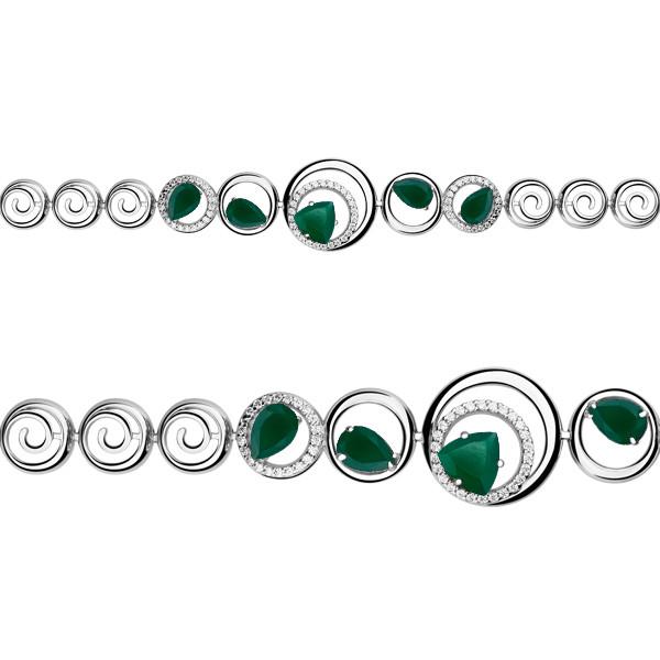 Серебряный браслет с агатом зелёным и агатом зелёным синт. AQUAMARINE #675837