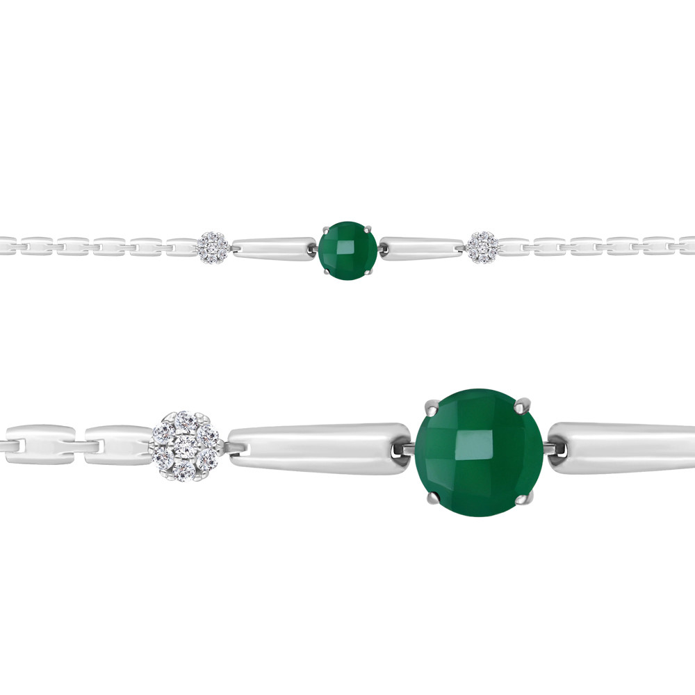 Серебряный браслет с агатом зелёным синт. и агатом зелёным AQUAMARINE #667426
