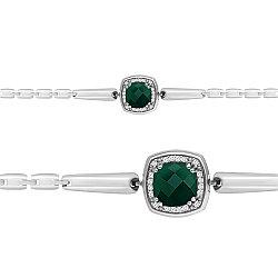 Серебряный браслет с  и агатом зеленым AQUAMARINE #666352