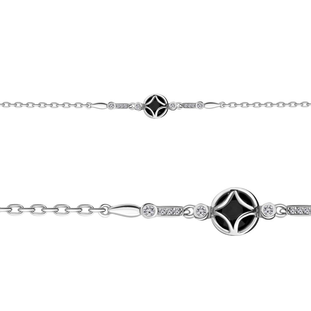Серебряный браслет с стеклом и фианитом AQUAMARINE #683175