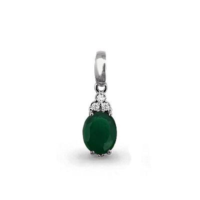 Серебряная подвеска с агатом зелёным и фианитом AQUAMARINE #700173