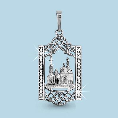 Серебряная подвеска с фианитом AQUAMARINE #460038