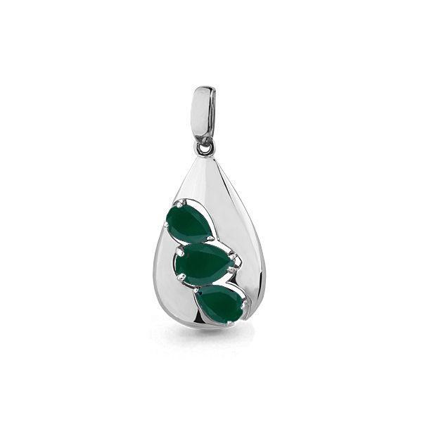 Серебряная подвеска с агатом зеленым AQUAMARINE #697800