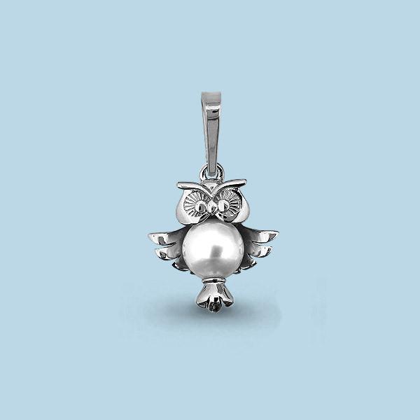 Серебряная подвеска с жемчугом культ. AQUAMARINE #653080